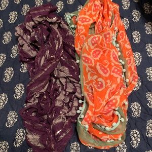 2 Light Material Scarves. Both for $4 total.